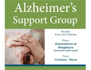 Monthly support group meeting every 2nd Tuesday